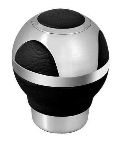 Pomo aluminio/piel GLOBE negro