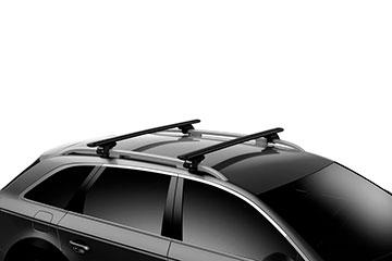 Barras de techo en aluminio Thule WingBar Evo Negras para coche 711220 + 118 + 7104
