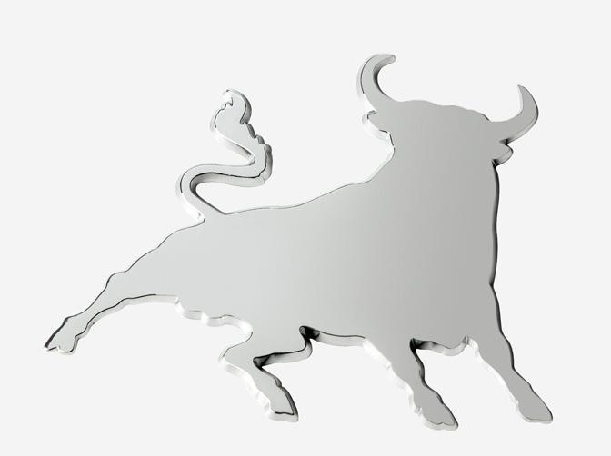 Adhesivo relieve cromado Toro combate